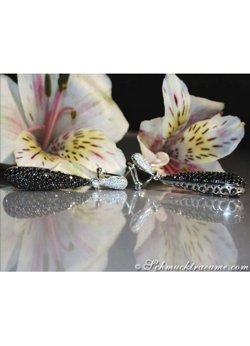 Voluminous Dangling Earrings with Black & White Diamonds