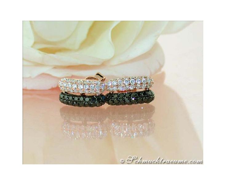 Delicate Black & White Diamond Earrings