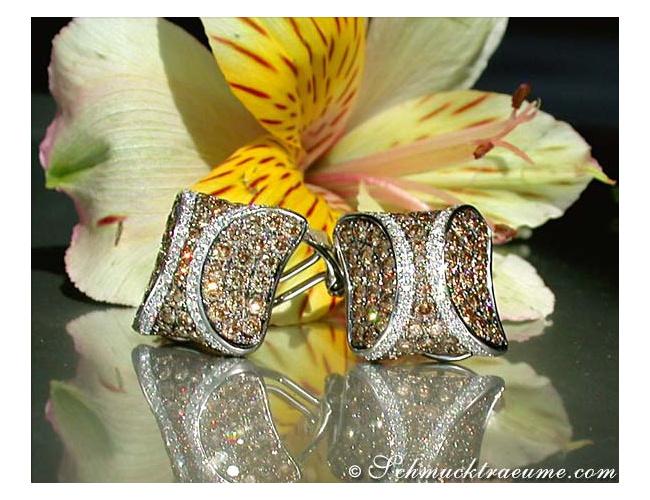 Braune Diamanten Ohrstecker