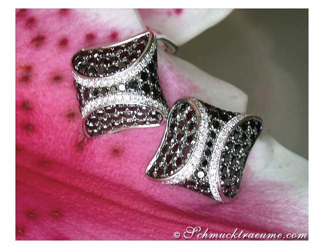 Ohrstecker mit schwarzen Diamanten & Brillanten