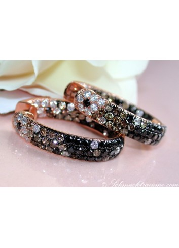 Stately Hoop Earrings with Black, Brown & White Diamonds