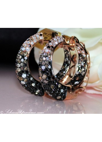 Impressive Hoop Earrings with Black, Brown & White Diamonds