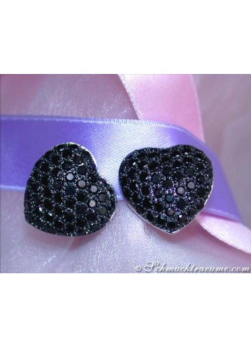 Feminine Black Diamond Heart Earrings