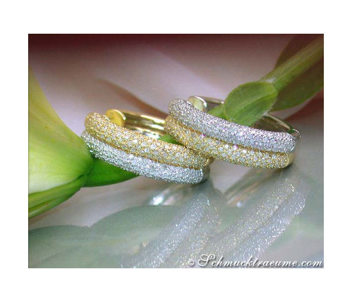 Timeless Diamond Hoops (Two Tone Finish)
