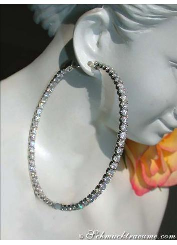 Exquisite Diamond Hoop Earrings in White gold 18k (Ø 54 mm)