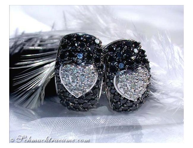 Herz Ohrstecker mit schwarzen Diamanten & Brillanten