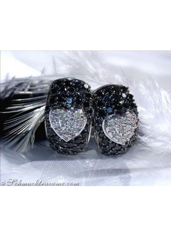 Heart Earrings with Black & White Diamonds