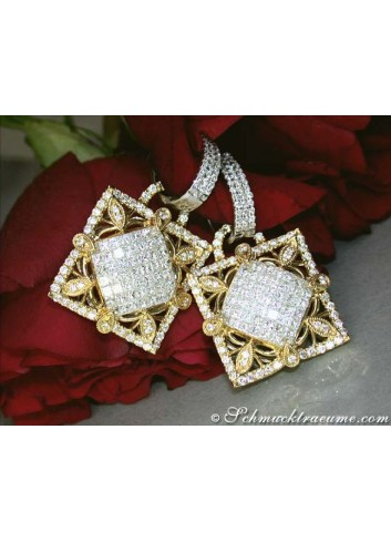 High-diamond Diamond Dangling Earrings