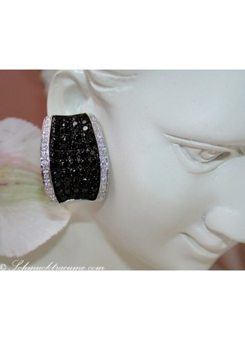 Stately Black & White Diamond Earrings