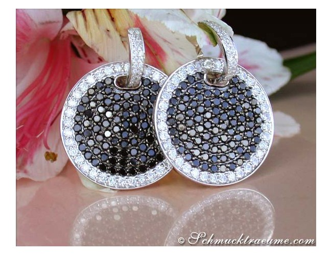 Imposing Black & White Diamond Earrings