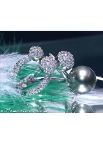 Tahitiperle Ring mit Diamanten