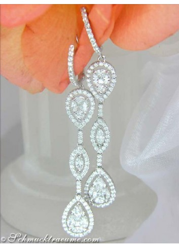 Long Diamond Dangling Earrings (Illusion Style)