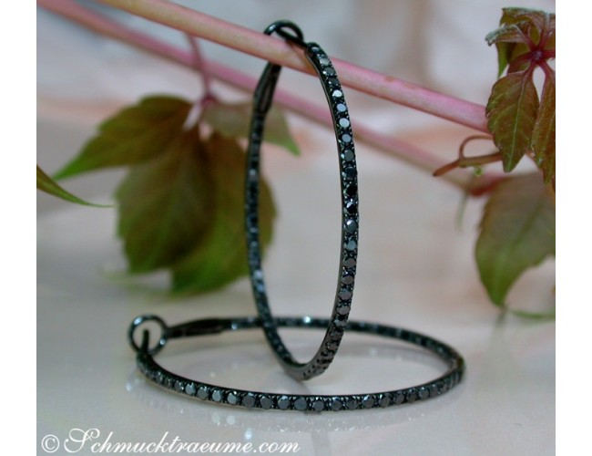 Interesting Black Diamond Hoop Earrings