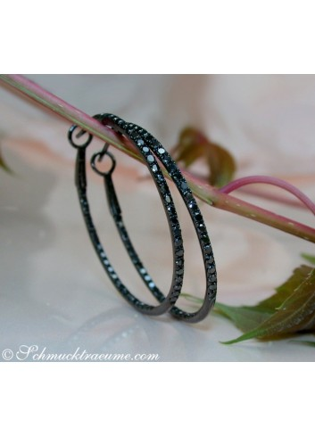 Delicate Black Diamond Hoop Earrings