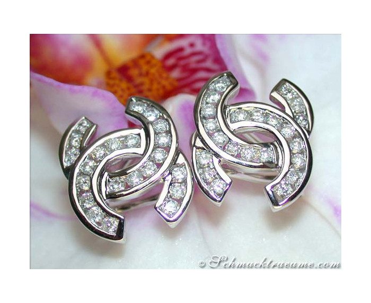 "Diamond Studs in Double ""C"" Design"