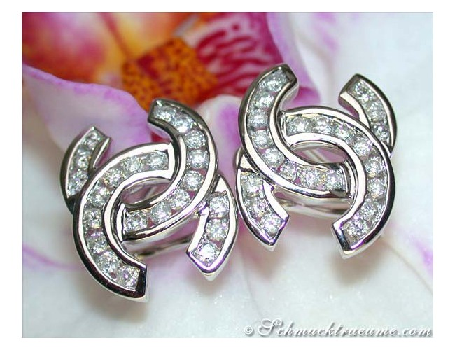 "Diamond Studs in Double ""C"" Design"