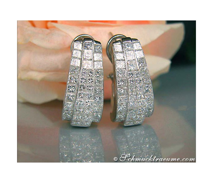 Magnificent Huggie Earrings with Princess Diamonds