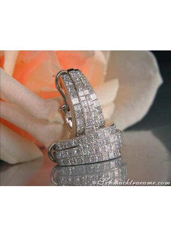Magnificent Half Hoop Earrings with Diamonds