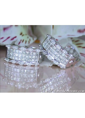 Fancy Huggie Earrings with Marquise & Princess Diamonds