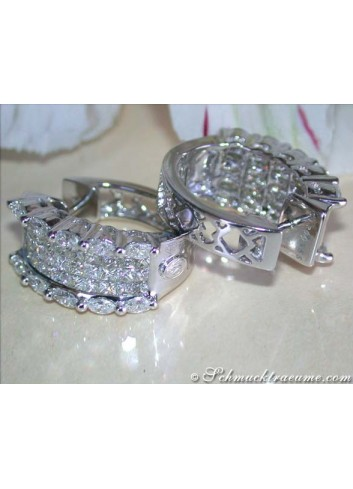Fancy Hoop Earrings with Marquise & Princess Diamonds