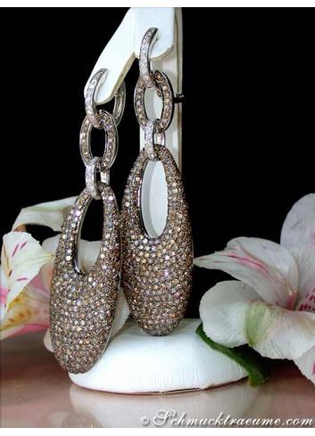 Stately Brown & White Diamond Dangling Earrings