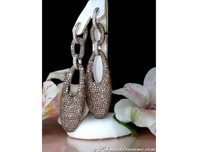 Stately Brown & White Diamond Dangling Earrings