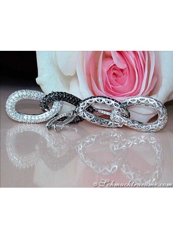 Superior Black & White Diamond Dangling Earrings