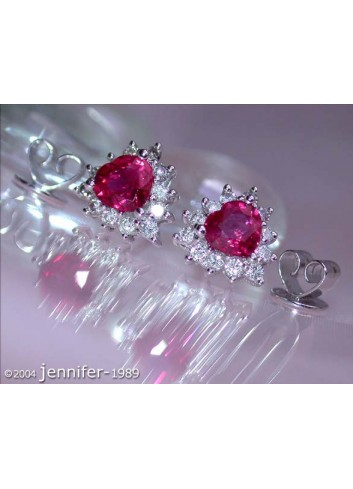 Burma ruby ​​diamonds stud earrings in heart design