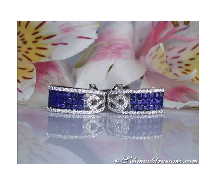Wonderful Sapphire Earrings with Diamonds
