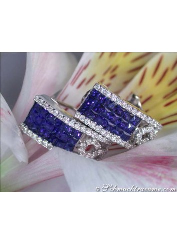 The finest sapphire earrings with diamonds