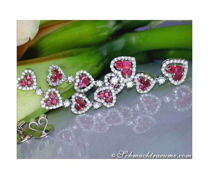 Magnificent Ruby Heart Earrings with Diamonds
