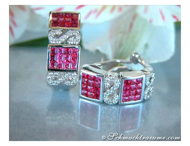 Attractive Ruby Earrings with Diamonds