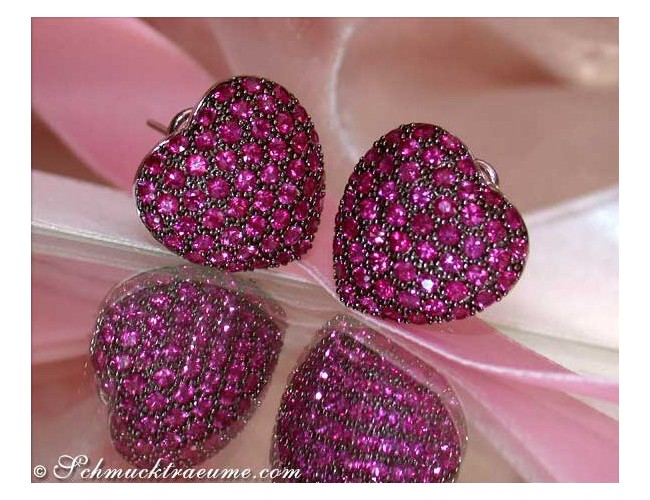 Enchanting Ruby Heart Earrings