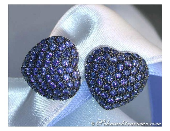 Pretty Sapphire Heart Earrings