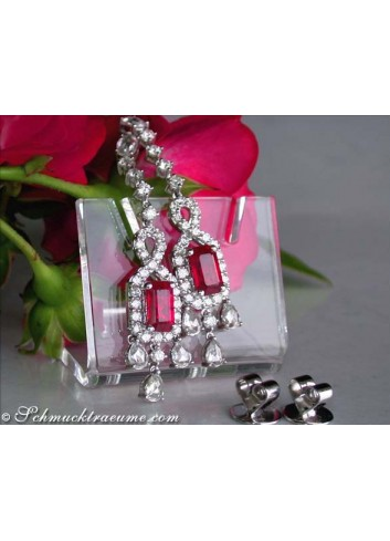 Fabulous Burmese Ruby Earrings with Diamonds