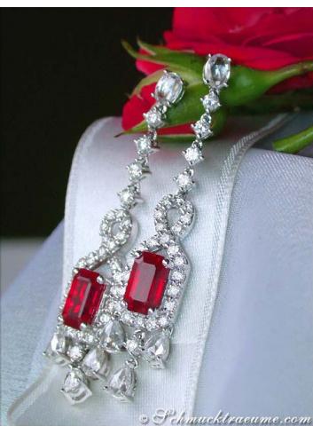 Fabulous Burma Ruby Earrings with Diamonds