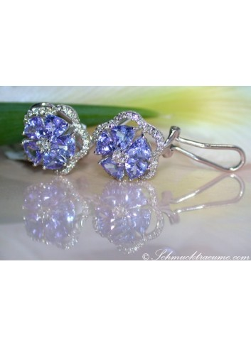 Graceful Tanzanite Blossom Stud Earrings with Diamonds