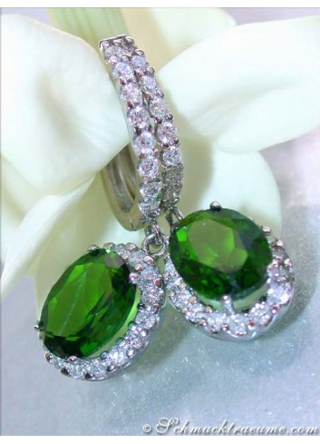 Magnificent Chrome Diopside Earrings with Diamonds