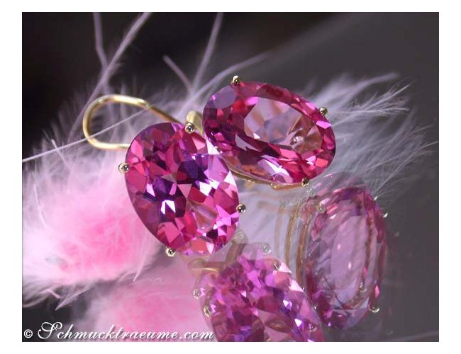 Wonderfully bright Pink Topaz Stud Earrings