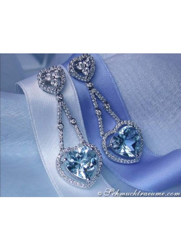 Beautiful Aquamarine Heart Earrings with Diamonds