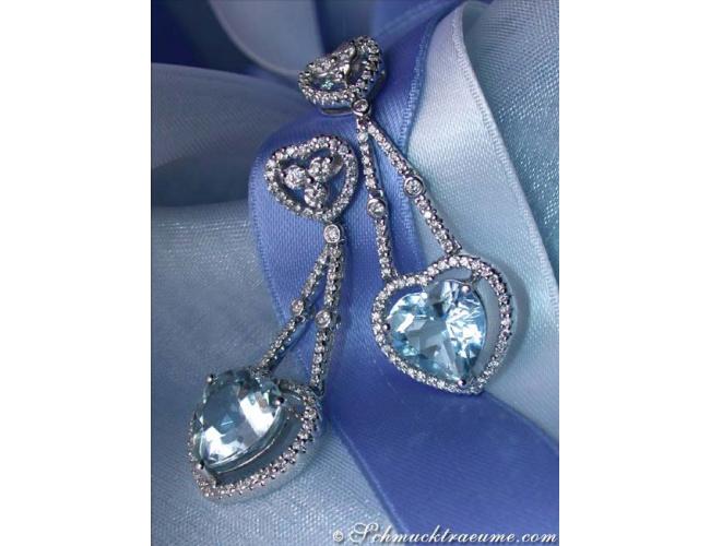 Beautiful Aquamarine Heart Earrings with Diamonds