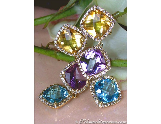 Edelstein Ohrringe mit Diamanten