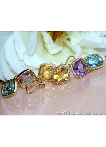 Stunning Multicolor Gemstone Dangling Earrings with Diamonds