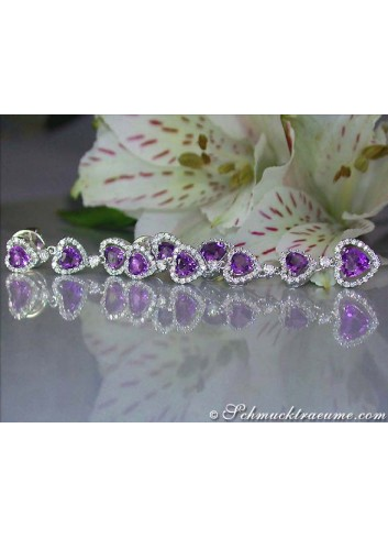 Exquisite Amethyst Heart Earrings with Diamonds