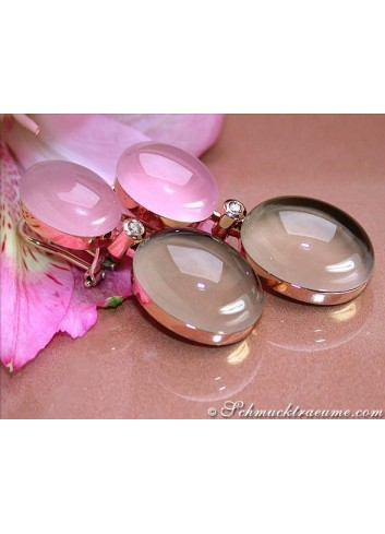 Magnificent Rose Quartz, Smoky Quartz & Diamond Earrings