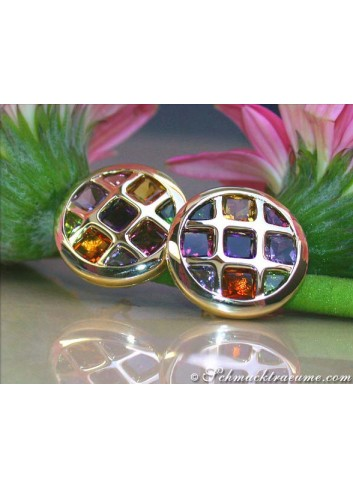 Sparkling Multicolor Gemstone Stud Earrings
