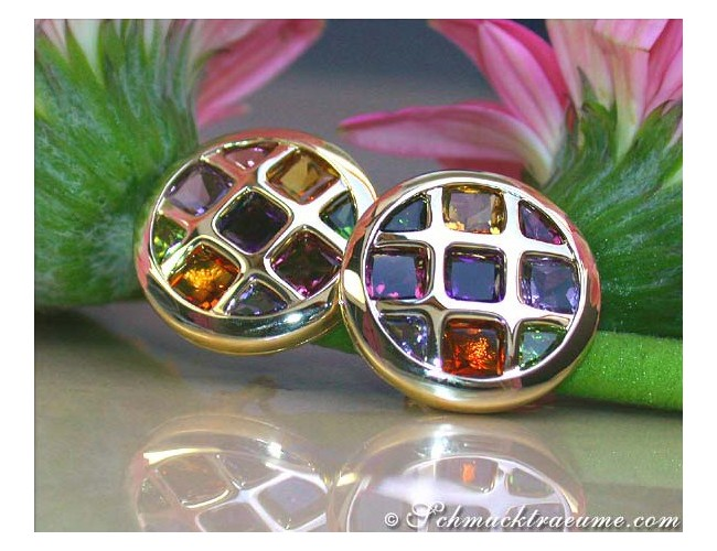 Sparkling Multi Color Gemstone Studs