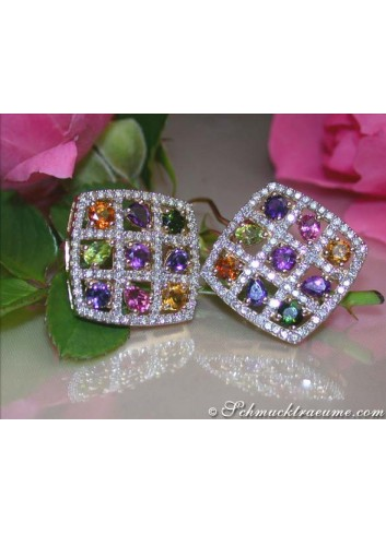 Sparkling Multicolor Gemstone Earrings with Diamonds