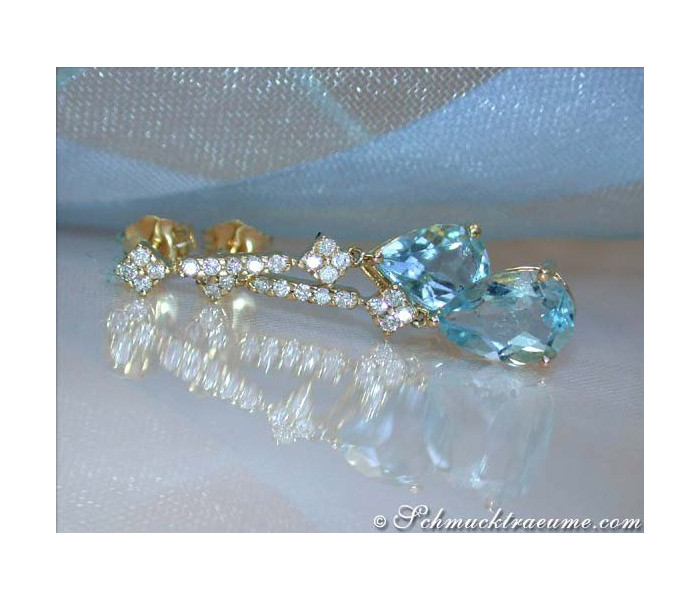 Aquamarin Ohrringe mit Diamanten