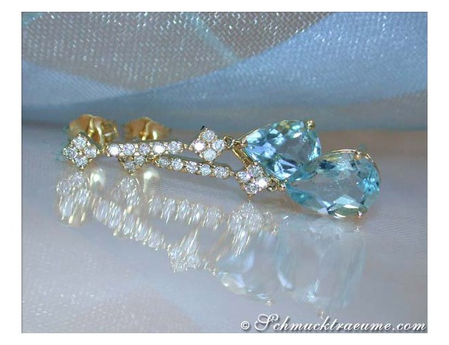Delicate Aquamarine Pear Earrings with Diamonds